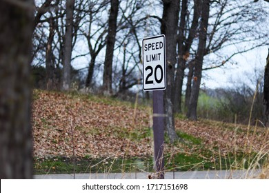 20 MPH speed limit sign.