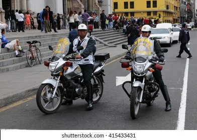 20 November 2010 - Lima, Peru. Police on the motorcycles in front of the Archbishop's Palace of Lima.