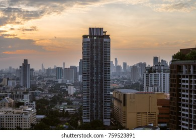 20 November, 2017: Blue sky and city buildings in Bangkok Thailand
