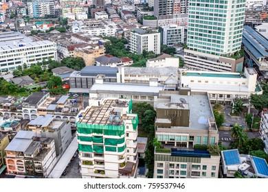 20 November, 2017: Sky view of city buildings with blue sky at Bangkok Thailand