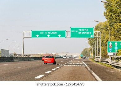 20 OCTOBER 2018, TUSCANY, ITALY: traffic driving on highway in direction to Milan