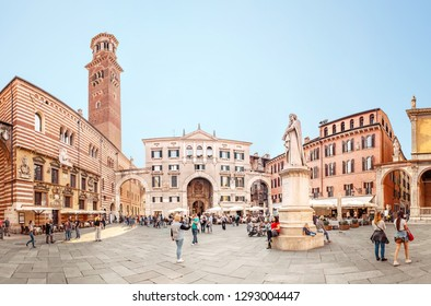 20 OCTOBER 2018, VERONA, ITALY: Verona old town square with view of Lamberti tower, tourist destination