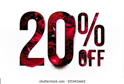 20% off discount promotion sale Brilliant poster, banner, ads. Precious Paper cut with Real red rose flowers for your elegant and unique selling poster / banner promotion offer percent discount ads.
