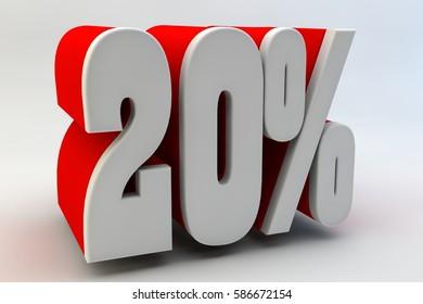 20 per cent. 3D text.