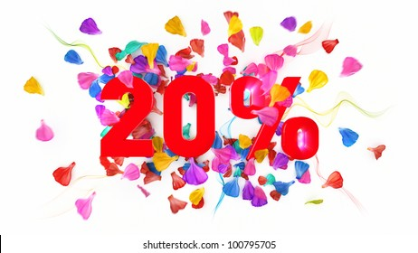 20 percent off on white isolated background full with colored petals
