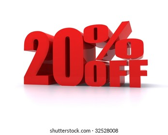 20% Percent off promotional sign