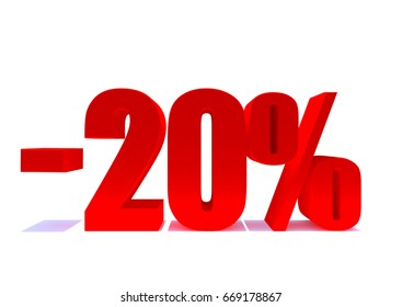 20 percent off. Red letters on reflective floor, Discount 3d render. White background