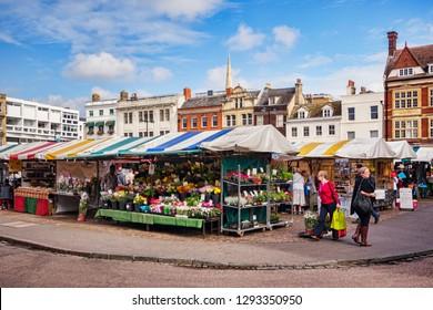 20 September 2016: Cambridge, England, UK - People shopping at a street Market.