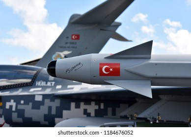 20 September 2018, Istanbul, Turkey:  HURJET, Turkish Aerospace Industries, Inc. is a military training aircraft designed as a jet engine training and close air support aircraft.