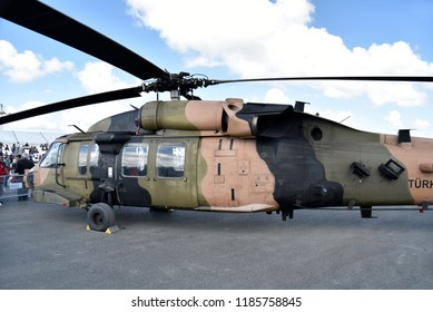 """20 September 2018, Istanbul - Turkey: Turkish war helicopters were exhibited at  """"technofest"""" technology festival in Istanbul"""