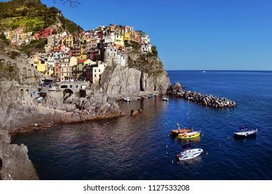 20 YUNE, 2018, ITALY, MANAROLA, Manarola village at twilight. Manarola is a small town in the province of La Spezia Liguria northern Italy, 20 YUNE, 2018, ITALY, MANAROLA