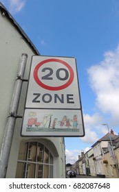 A 20 ZONE sign in Liskeard town centre in Cornwall