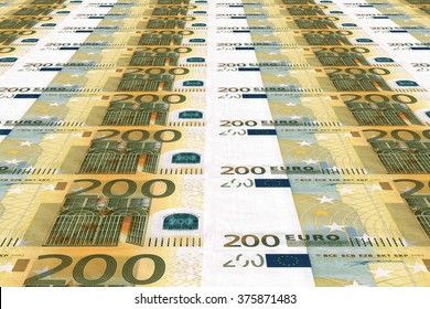 200 euro bill polygraphic process in a modern printing house