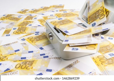 a lot of 200 euros of banknotes scattered over a petty cash