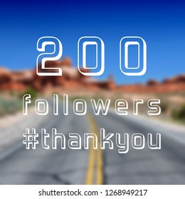 200 followers sign - social media milestone thank you banner. Online community note. 200 likes.