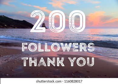 200 followers - social media milestone banner. Online community thank you note. 200 likes.