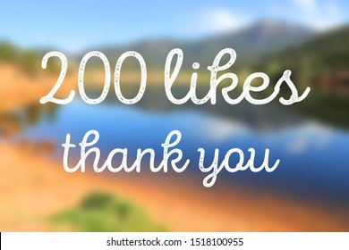 200 likes. Social media achievement. Thank you banner.