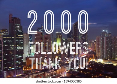 2000 followers achievement banner - social media milestone sign. Online community thank you note. 2k likes.