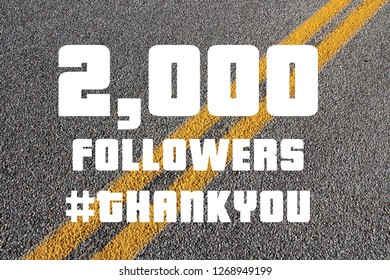 2000 followers sign - social media milestone banner. Online community thank you note. 2k likes.