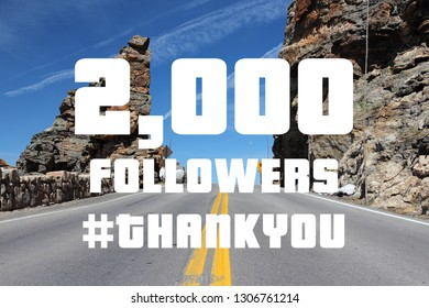 2000 followers sign - social media milestone banner. Online community thank you note. 2k likes.