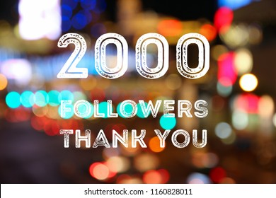 2000 followers - social media milestone banner. Online community thank you note. 2000 likes.