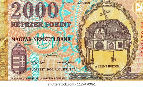2000 Hungarian forints bank note. Hungarian forint is the national currency of Hungary. Close Up UNC Uncirculated - Collection.