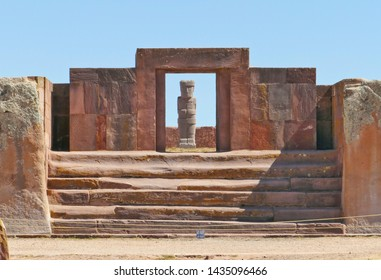 The 2000 year old archway at the Pre-Inca site of Tiwanaku near La Paz in Bolivia. Tiwanaku, (Spanish: Tiahuanaco, Tiahuanacu) is an important Pre-Columbian archaeological site in western Bolivia, Sou