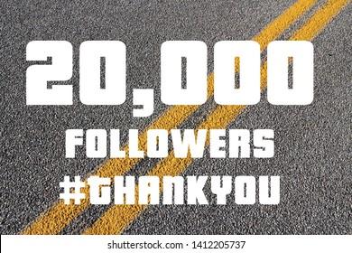 20000 followers sign - social media milestone banner. Online community thank you note. 20k likes.