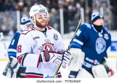 20.01.2018. RIGA, LATVIA. Brandon McMillan, during  Kontinental Hockey League (KHL) 2017/2018 season game, Winter Ice Break  Dinamo Riga vs. Dinamo Minsk