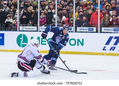 20.01.2018. RIGA, LATVIA. Brandon McMillan and Charles Linglet, during Kontinental Hockey League (KHL) 2017/2018 season game, Winter Ice Break  Dinamo Riga vs. Dinamo Minsk