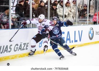 20.01.2018. RIGA, LATVIA. Brandon McMillan and Marc Andre Gragnani, during   Kontinental Hockey League (KHL) 2017/2018 season game, Winter Ice Break  Dinamo Riga vs. Dinamo Minsk
