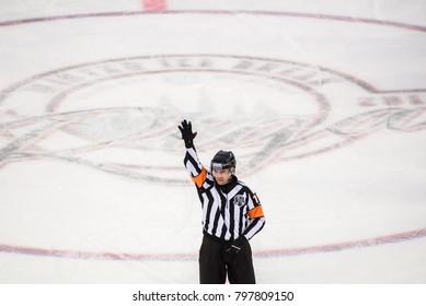 20.01.2018. RIGA, LATVIA. Referee, during  Kontinental Hockey League (KHL) 2017/2018 season game, Winter Ice Break  Dinamo Riga vs. Dinamo Minsk