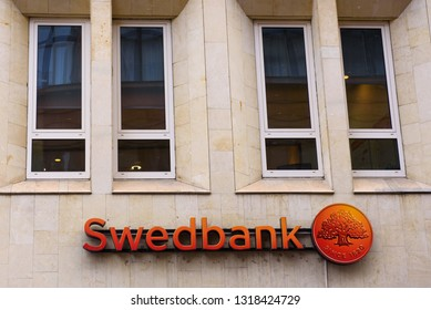 20.02.2018.  RIGA, LATVIA.  Logo of Swedbank Latvia  in Riga city Swedbank is a Nordic-Baltic banking group with headquaerters based in Stockholm,