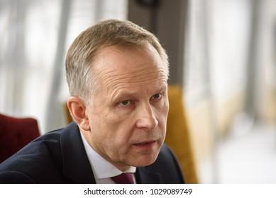 20.02.2018. RIGA,LATVIA. Press conference of Ilmars Rimsevics, Governor of Central Bank of Latvia. Hotel Gutenbergs, Riga.