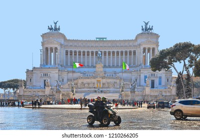 20.02.2018. Street View of the National Monument Vittoriano or Altare della Patria, Altar of the Fatherland, in Venezia square, Italian and Rome patriotic symbols, located on the Campidoglio