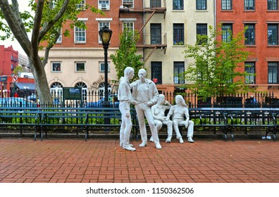 20.05.2016. New York City, Greenwich village, In Christopher Park, sculptures commemorating the gay liberation movement and the Stonewall Riots, begun to spread from the Stonewall Inn ( 1969).