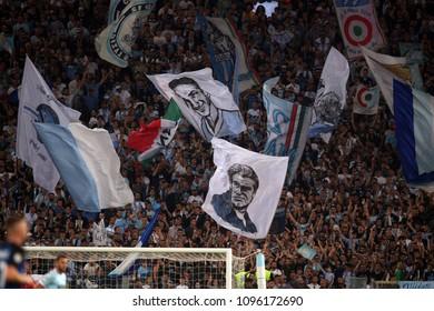 20.05.2018. Stadio Olimpico, Rome, Italy. Serie A. SS LAZIO vs FC INTER. Lazio supporters in action during the Serie A football match SS LAZIO vs FC INTER at Stadio Olimpico in Rome.