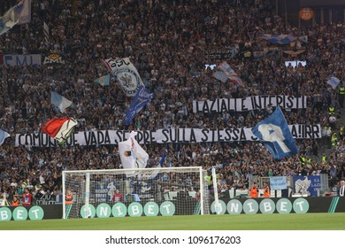 20.05.2018. Stadio Olimpico, Rome, Italy. Serie A. SS LAZIO vs FC INTER. Lazio Fans flags on the stands  during the Serie A football match SS LAZIO vs FC INTER at Stadio Olimpico in Rome.