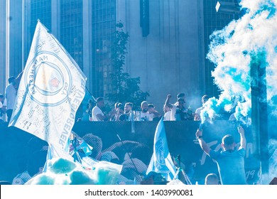 20/05/2019.Manchester, UK. Manchester city fans gather to celebrate a historic season.