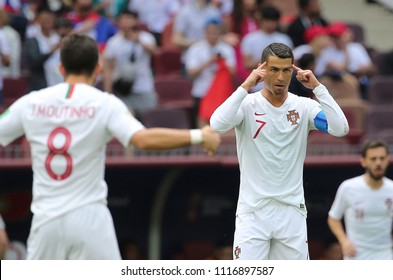 20.06.2018. Moscow, Russian: CRISTIANO RONALDO in action during the Fifa World Cup Russia 2018, Group B, football match between PORTUGAL  V MOROCCO  in Luzhniki Stadium  in Moscow.