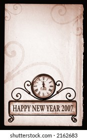 2007 happy new year background with path on clock
