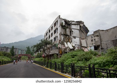 2008 Sichuan Earthquake Memorial Site. Buildings after the big earthquake in Wenchuan, Sichuan, China. The memorial site, dedicated to all who perished in the Sichuan Earthquake.