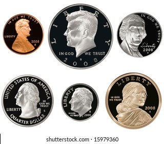 2008 US Coin Proof Set Isolated on white