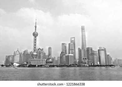 20.08.2016. Cityscape and panorama of modern architecture, cloudy sky on river of shanghai pudong skyline and skyscrapers  , Shanghai Pudong China