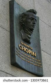2009.05.10, Prague, Czech Republic. Left side view of memorial plaque of Chopin F. in Prague. Sights of Czech republic.