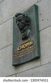 2009.05.10, Prague, Czech Republic. Right side view of memorial plaque of Chopin F. in Prague. Sights of Czech republic.