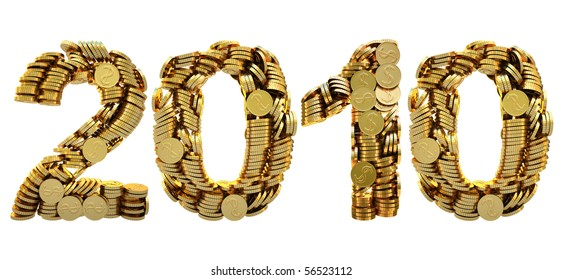 2010 is composed of gold coins. with clipping path.