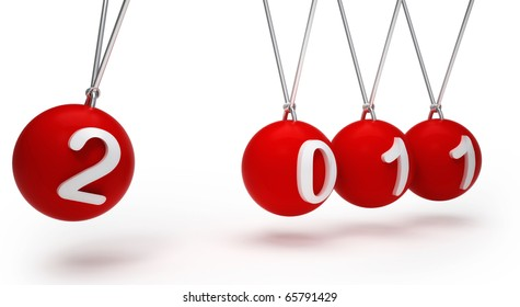 2010 Red balls, Newton's cradle isolated over white background