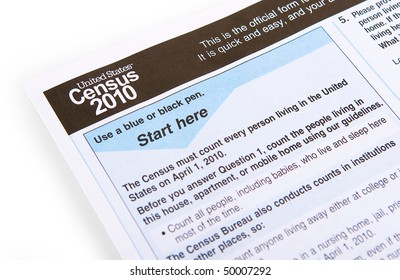 the 2010 United States census form on a white background