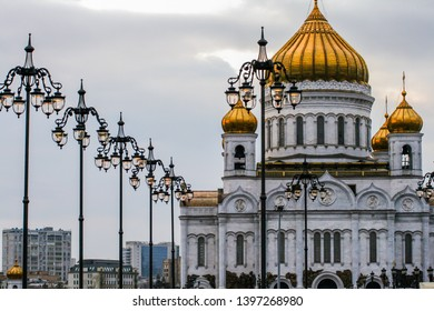 2010.04.04, Moscow, Russia. Cathedral of Christ the Saviour. Russian orthodox cathedral close up. Tallest orthodox church in the world.